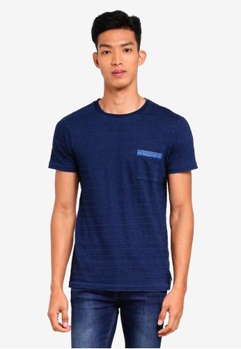 ESPRIT 海軍藍色 短袖條紋口袋T恤 D987CAA7B3E8E8GS_1