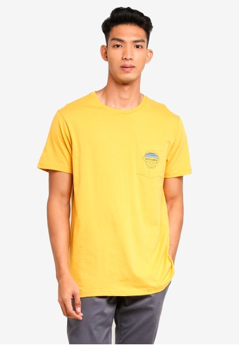 Patagonia yellow Fitz Roy Hex Organic Pocket T-Shirt PA549AA0SVMWMY_1