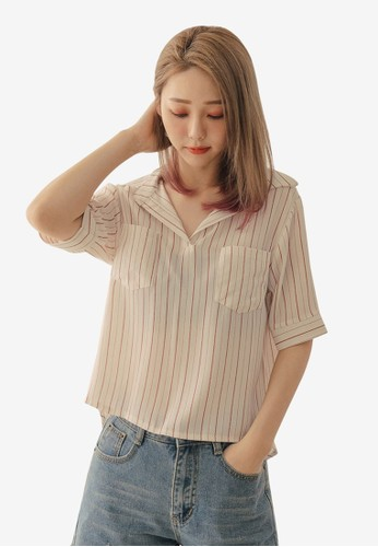 Tokichoi multi and brown Striped Pockets Blouse 9D7B3AABB1A068GS_1