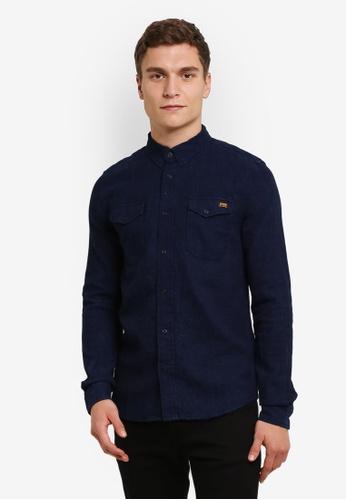 Superdry blue and navy Dragway Denim Shirt SU137AA0RY5SMY_1