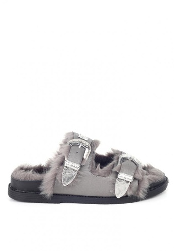 London Rag grey Fur Slip On Flats 43950SHD18FE32GS_1