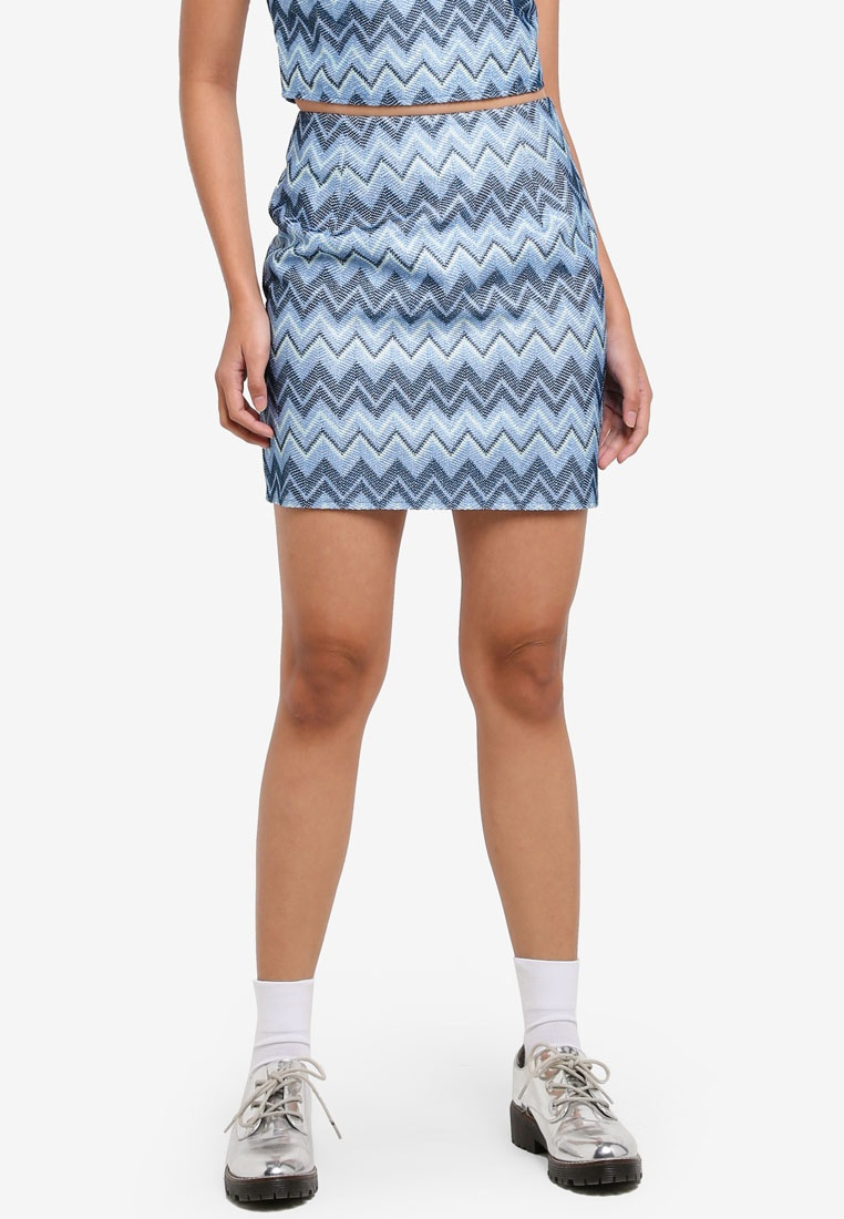 Borrowed Something Skirt Chevron Fitted Mini Chevron Blue vgqBgw