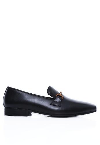 Zeve Shoes black Zeve Shoes Loafer Slipper - Black Leather Brass Horsebit Buckle 8AA19SHCBBF54DGS_1