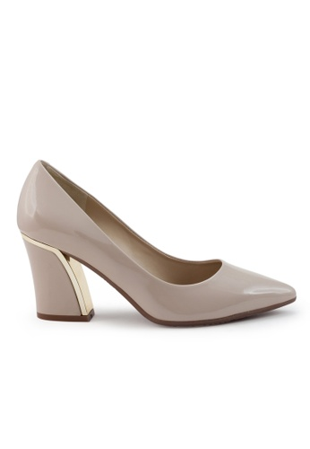 Shu Talk beige Elegant Patent High Heel Pointed Toe Pumps SH397SH0GFK6SG_1