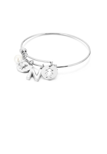 Glamorousky white Fashion Creative English Alphabet N Round Cartoon Character 316L Stainless Steel Bangle with Imitation Pearls 0686BACCCE0AEBGS_1
