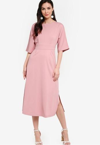 ZALORA WORK pink Kimono Midi Dress With Slits 9003AAAE987147GS_1