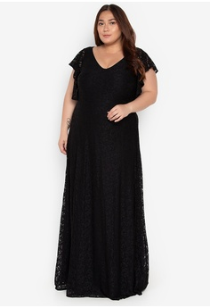 346a5bec930 Love Curves Clothing By Jgo black Plus Size Flounce Sleeves Lace Gown  47D06AAF7E77A9GS 1