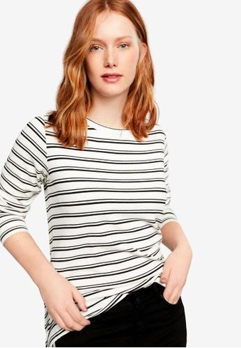 Violeta by MANGO white Plus Size Striped Rib T-Shirt A9A22AA1E82B92GS_1