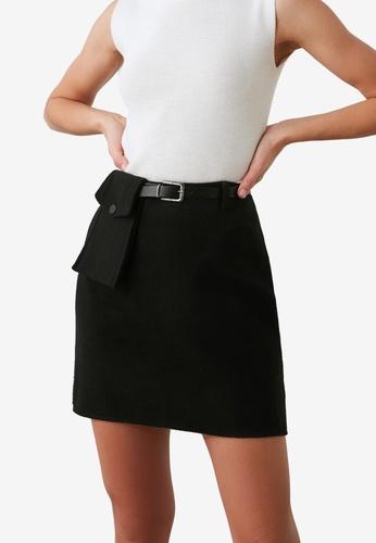 Trendyol black Belted Pocket Detail Skirt D8710AA893B383GS_1