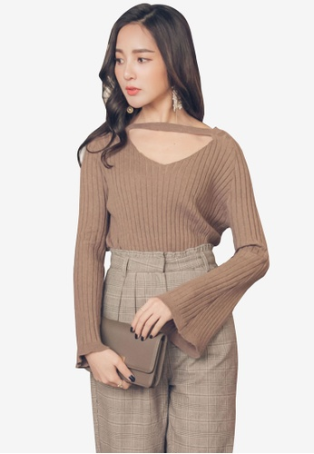YOCO brown Ribbed Knit Sweater with Cut-out 452A7AAB147292GS_1