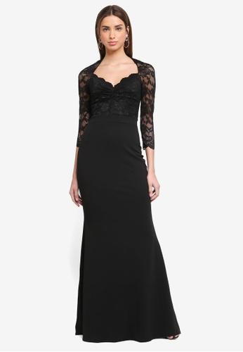 Goddiva black Lace Bodice Maxi Dress With Sleeves AE31AAA60D167BGS_1