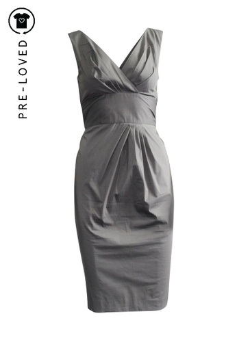 Max Mara grey Pre-Loved max mara Grey Asymetric V-Neck Dress with Bow Detail 5DC54AAD50EF88GS_1