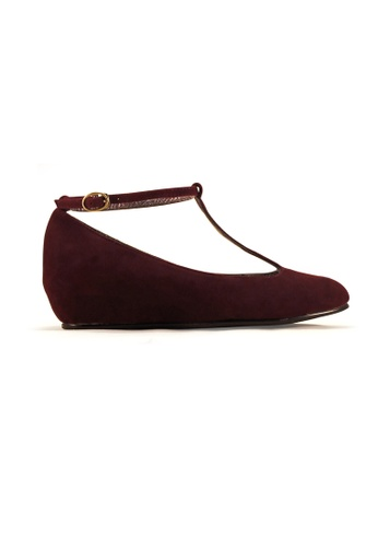 Gripz red Rie T-Strap Round Toe Mary Jane  Low Wedge 2A23FSH3B1C5C1GS_1