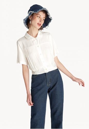 5c28e4ca Buy Pomelo Cropped Button Down Shirt - White Online on ZALORA Singapore