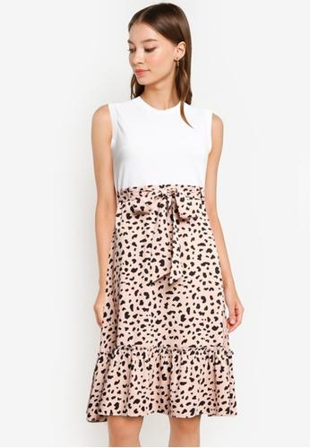 ZALORA WORK white and pink Contrast Fabric Fluted Hem Dress 8D2ADAA5E14522GS_1