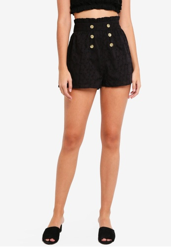 TOPSHOP black Heart Broderie Shorts 18DF0AA0F94068GS_1
