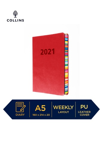 Red Collins Edge Rainbow Week to View 2021 Diary