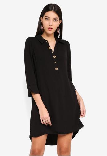 f1097b39fc8949 Shop Wallis Petite Black Button Shift Dress Online on ZALORA Philippines