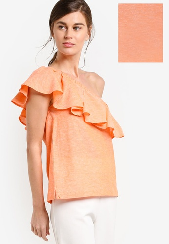 WAREHOUSE orange Ruffle One Shoulder Top WA653AA71ULCMY_1