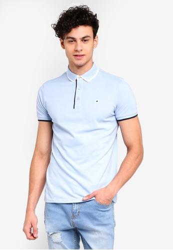 Penshoppe 藍色 刺繡POLO衫 D2437AA67C8717GS_1