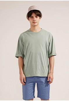 【ZALORA】 韓系必備。透氣純棉。寬版短袖圓領T-MIT-03739-淺綠色