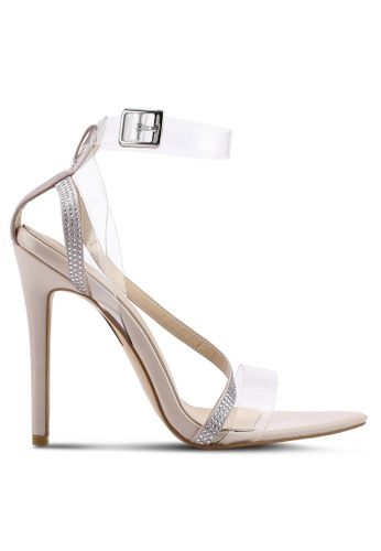 Public Desire 米褐色 Saucy Strappy Perspex Point Toe Heels 00302SH30F065CGS_1