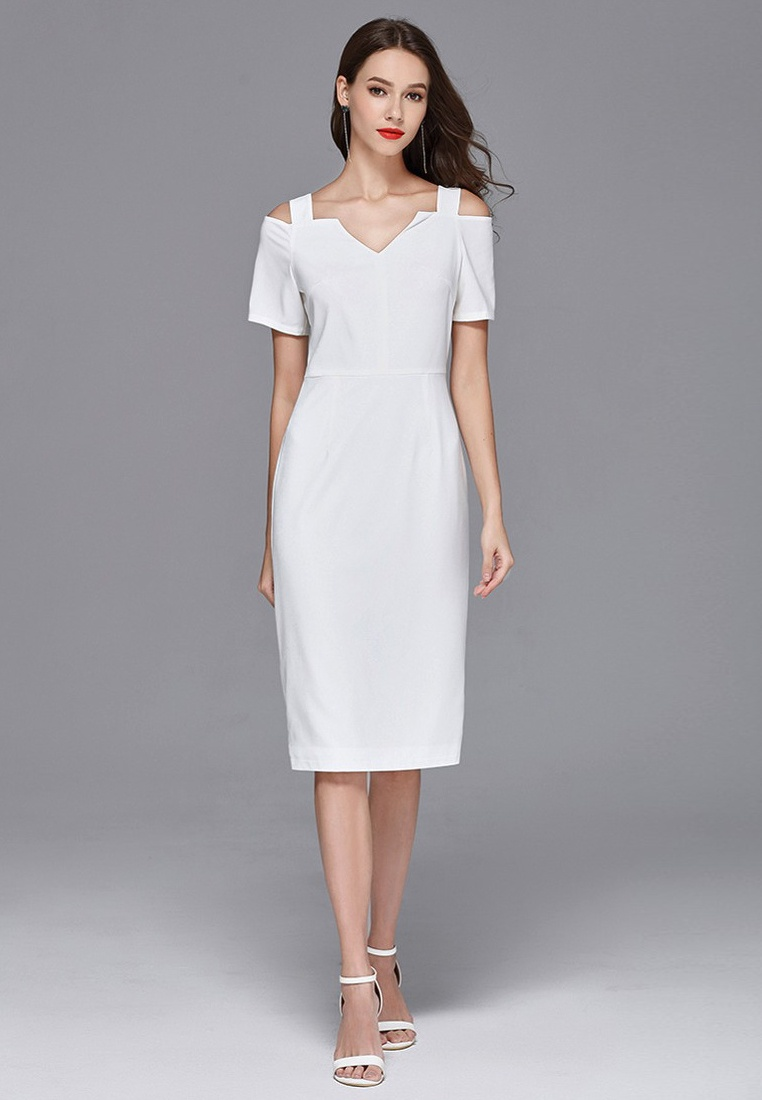 Sunnydaysweety One CA062926W White Off Dress 2018 New Piece Shoulder White 5xwIqOOZ08