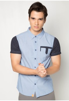 Chambray Short Sleeve Shirt with Printed Sleeves and Front Pocket