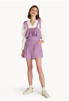 ca94046b988e Gingham Shoulder Tie Romper - Purple EE2A4AA2BCF376GS 1
