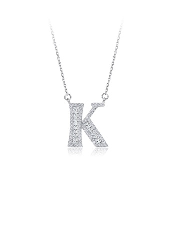 Glamorousky white 925 Sterling Silver Fashion Personality English Alphabet K Cubic Zircon Necklace 5B884AC8C12F1AGS_1