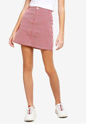 Something Borrowed red Striped A-Line Skirt A45EAAA98BC7A9GS_1