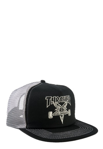 0b874506e9d Thrasher black Thrasher Embroidered Skategoat Mesh Cap Black Grey  372FFACCEA6A7AGS 1