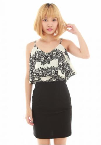 LUXORA black and white Floral Layer Black White Dress LU926AA03QNOSG_1