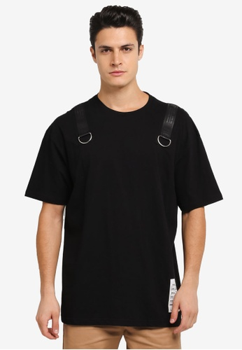 Flesh IMP black Buckle Up Force Oversized T-Shirt FL064AA0SJNRMY_1