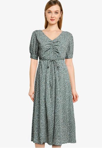 Heather green Print Midi Dress FB839AAAFFB1CCGS_1