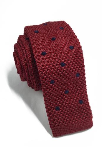Splice Cufflinks Weave Series Black Polka Dots Dark Red Knitted Tie SP744AC71KTWSG_1