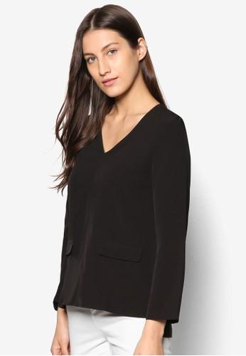 Collection 口袋長袖T-shirt、 服飾、 上衣ZALORACollection口袋長袖上衣最新折價
