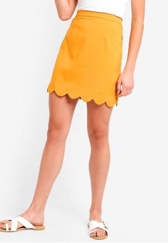 ZALORA BASICS yellow Basic Scallop Hem Mini Skirt 01783AAABB9E10GS_1