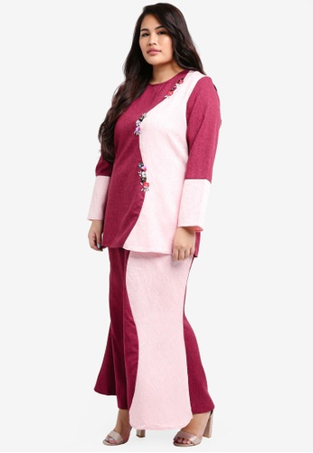 peace collections red Plus Size Kurung DAFFEAA1F7C5A3GS_1