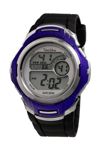 UniSilver TIME black and blue Nucleon Men's  Digital Rubber Strap Watch KW2208-1003 UN802AC41OGCPH_1