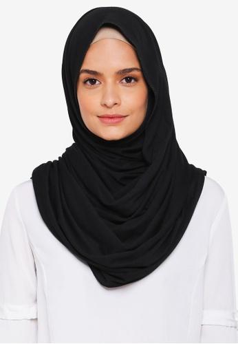 Lubna black Basic Jersey Shawl 9CCEDAA40CC860GS_1