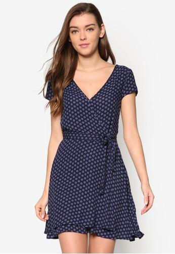 裹esprit china飾V 領印花短袖洋裝, 服飾, 洋裝