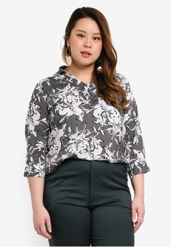 Ex'otico grey Plus Size 3/4 Sleeve Casual Blouse 0855CAA0EA3868GS_1