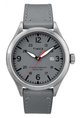 TIMEX grey Timex Waterbury Traditional 40mm - Grey Dial with Silver brush case and Grey leather strap (TW2R71000) 16B19ACF29E940GS_1