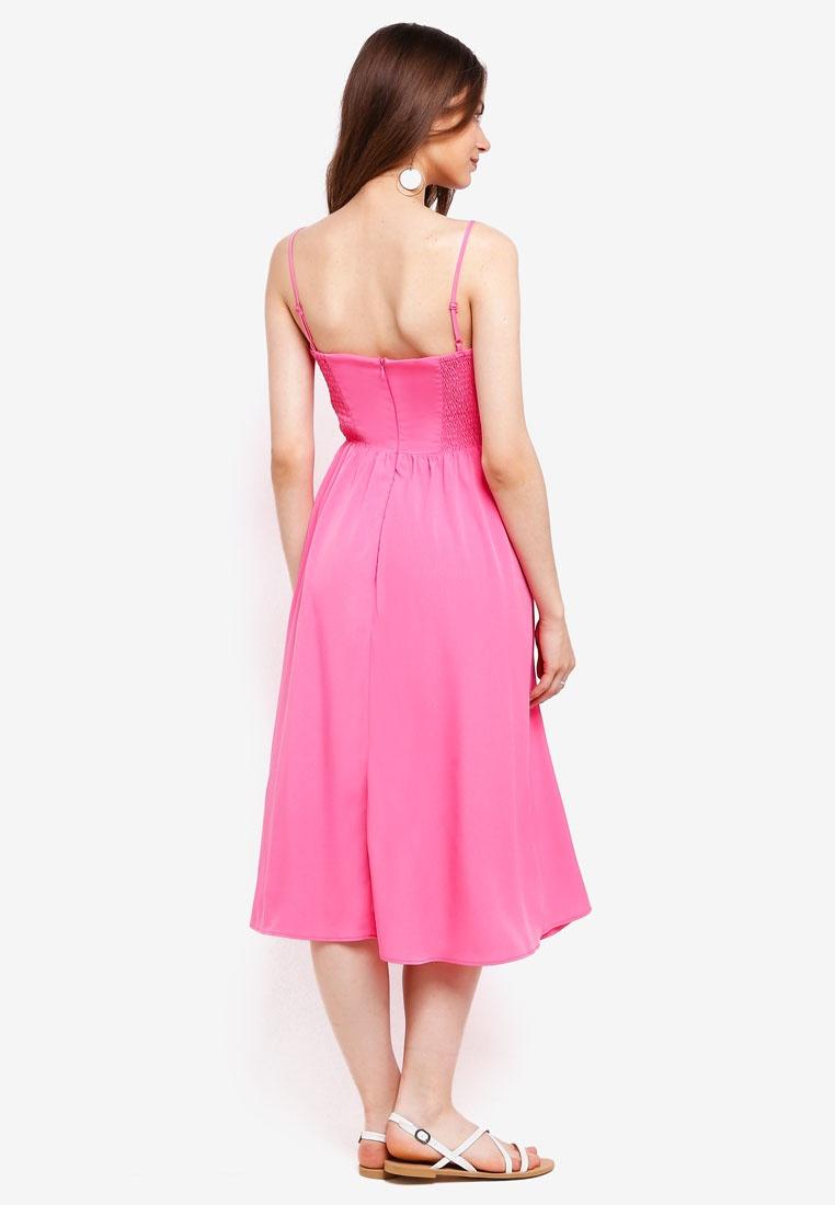 Pink WAREHOUSE Dress Smocked Plain Midi Bright YXqxARqUCw