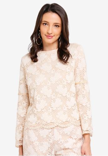 Zalia beige Lace Cape Top with Velvet Trim 22CB7AA40862D0GS_1