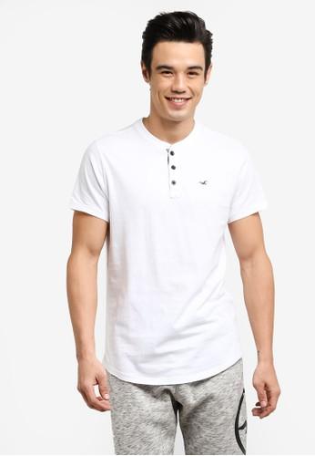 Hollister white Short Sleeve Core Henley T-Shirt HO422AA0RCREMY_1