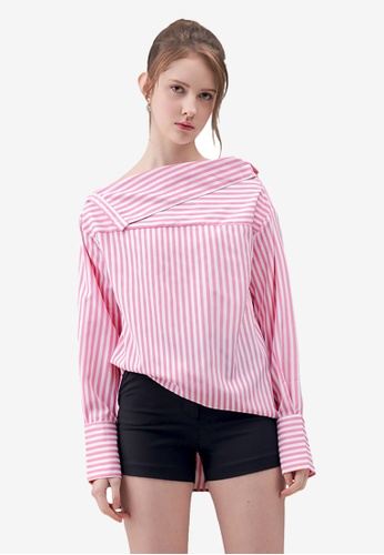 dac97ad399928 Buy Kodz Striped Off-Shoulder Shirt Online on ZALORA Singapore