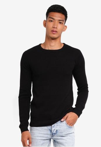 !Solid 黑色 長袖針織上衣 ED234AA42E49DAGS_1