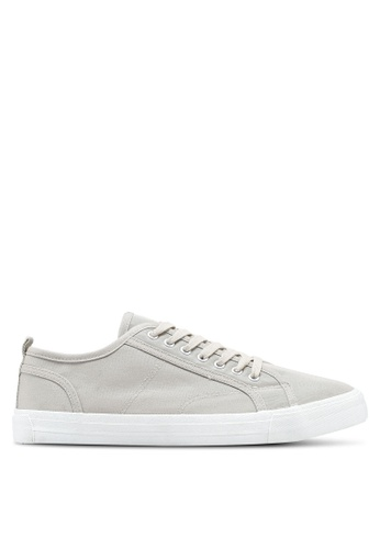 Burton Menswear London white Ecru Coated Canvas Plimsolls On A White Sole Sneakers 97600SH6EF4283GS_1